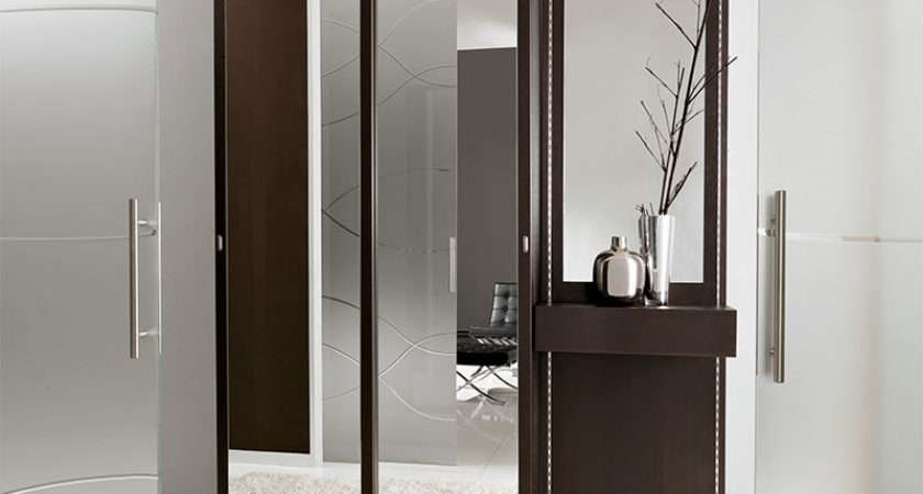 Unico Contemporary Wenge Mirrored Hallway Storage System