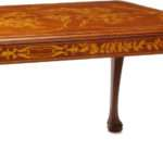 Unusual Dutch Marquetry Style Dining Table Floral Design