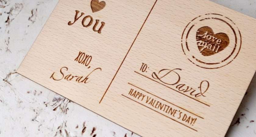 Valentine Day Card Personalized Engraved Wooden