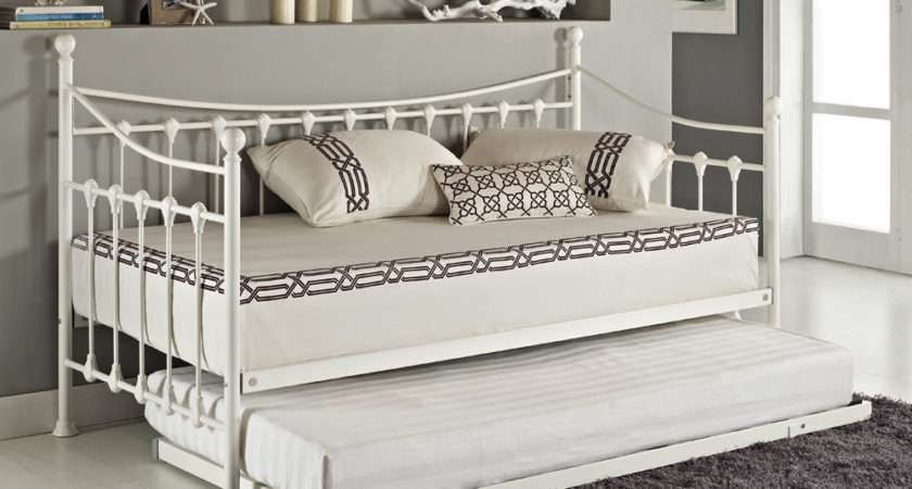 Versailles French Day Bed Trundle Black White Metal
