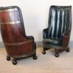 Very Unusual Circa Spanish Barrel Armchairs Leather Sofas
