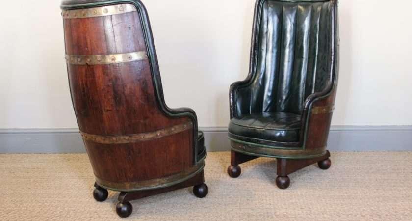 Very Unusual Circa Spanish Barrel Armchairs Leather Sofas