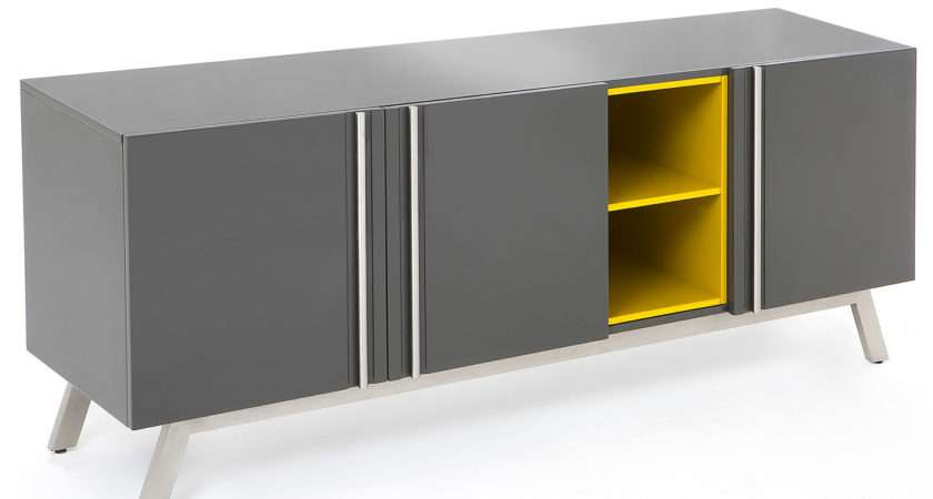 Vestina Grey Yellow High Gloss Large Sideboard Redtree