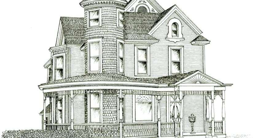 Victorian House Drawing Ink Drawings Terraced