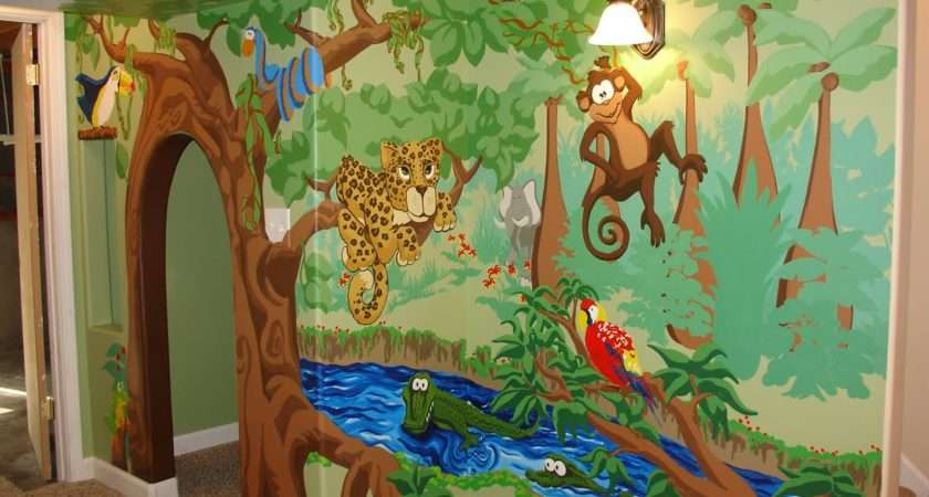 Village Green Beautiful Playhouse Whimsical Jungle Mural