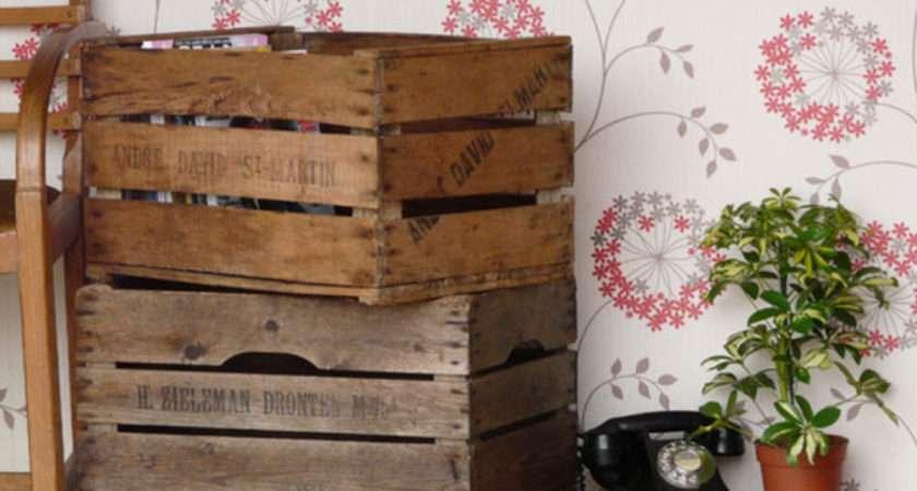 Vintage Apple Crates Set Old Wooden Chests Trunks