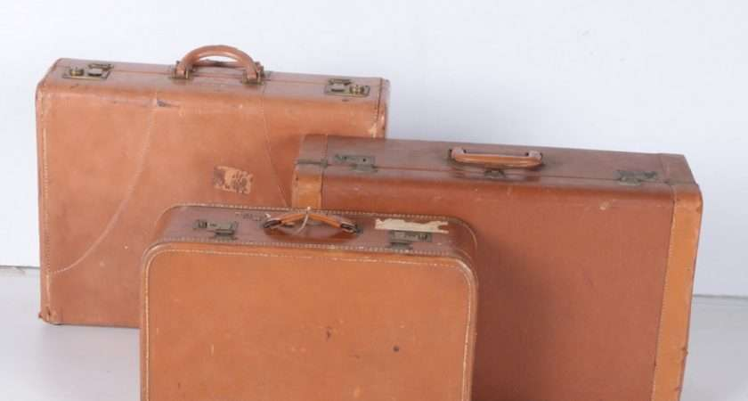 Vintage Brown Leather Faux Suitcases Ebth