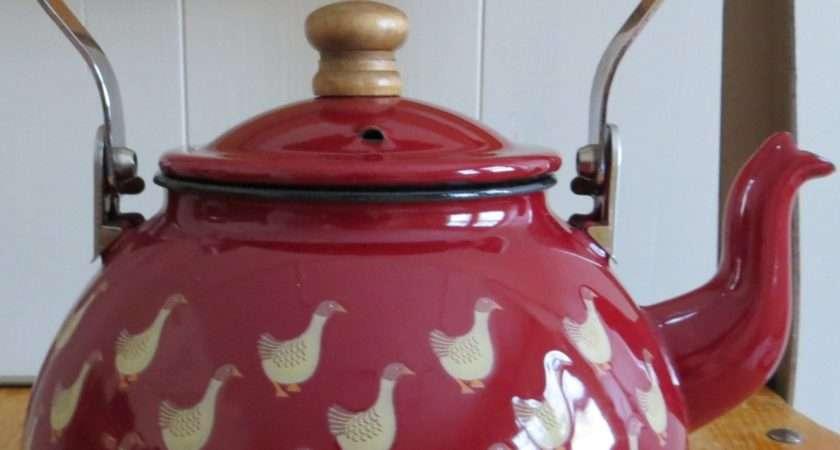 Vintage Enamel Tea Kettle Cranberry Color Birds Never