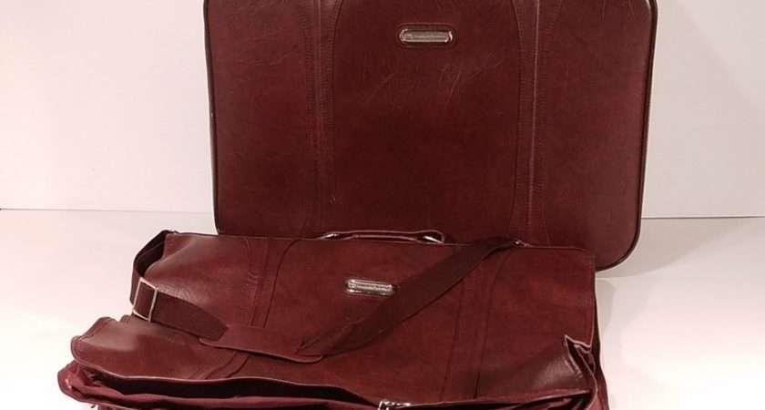 Vintage Faux Leather Suitcase Garment Bag American