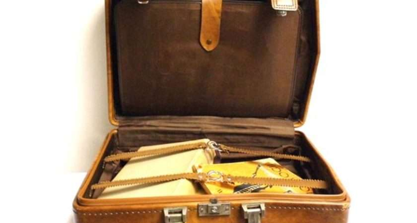 Vintage Faux Leather Suitcase Luggage Briefcase Travel Case