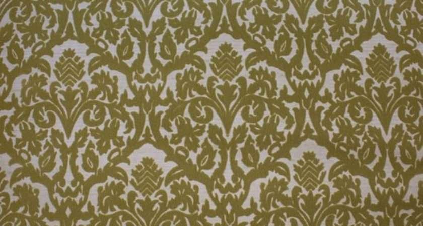 Vintage Flocked Olive Green Damask