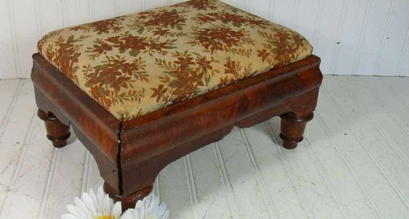 Vintage Funky Upholstered Wooden Footstool Divineorders