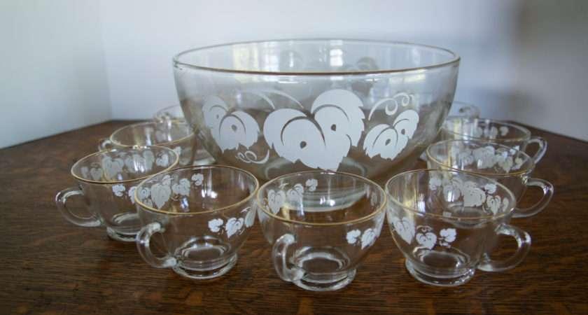 Vintage Glass Punch Bowl Glasses Grape Leaves Gleaned