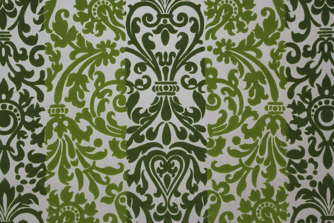 Vintage Green Flocked Design Rosieswallpaper