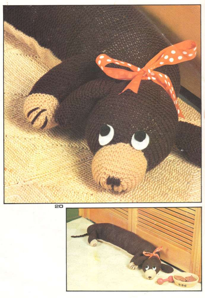 Vintage Knitting Pattern Toy Dachshund Draught Excluder ...