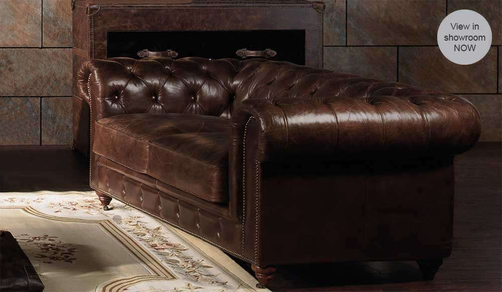 Vintage Leather Seater Sofa Luxury Chesterfield Style
