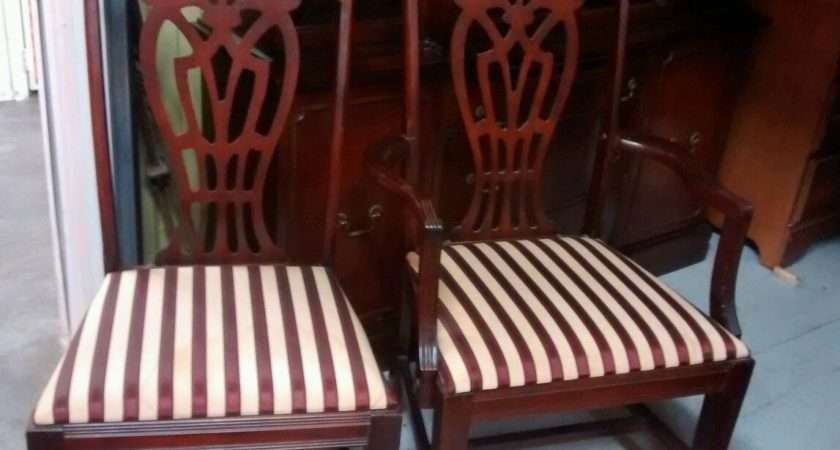 Vintage Mahogany Dining Room Table Six Chairs