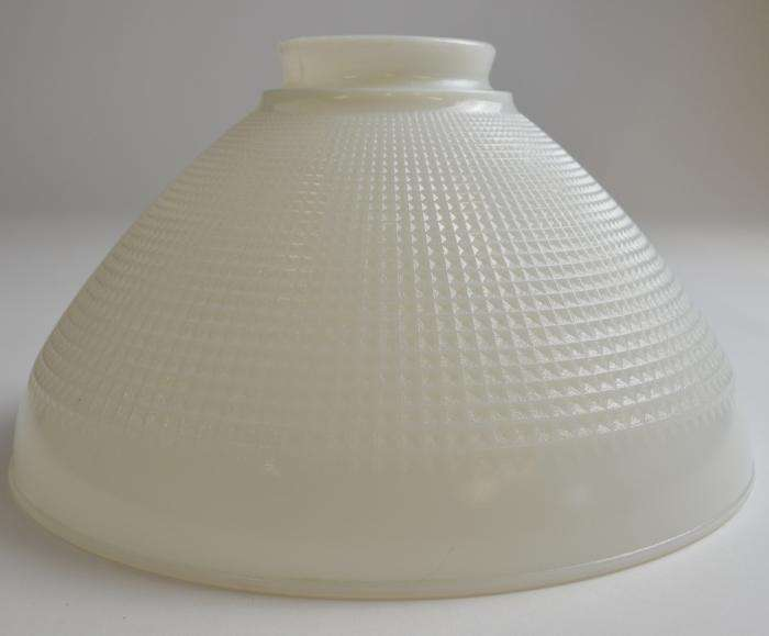 Vintage Milk Glass Waffle Pattern Hanging Lamp Shade Tall