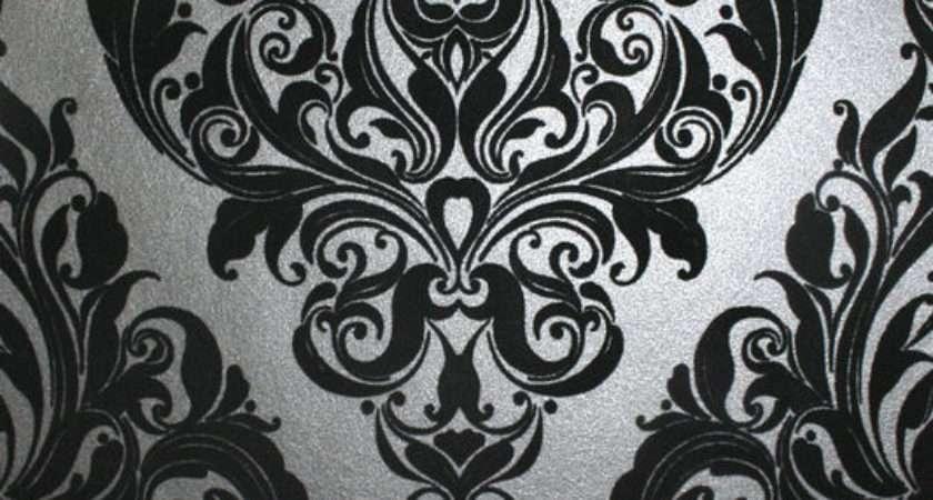 Vintage Noir Flock Damask Graham