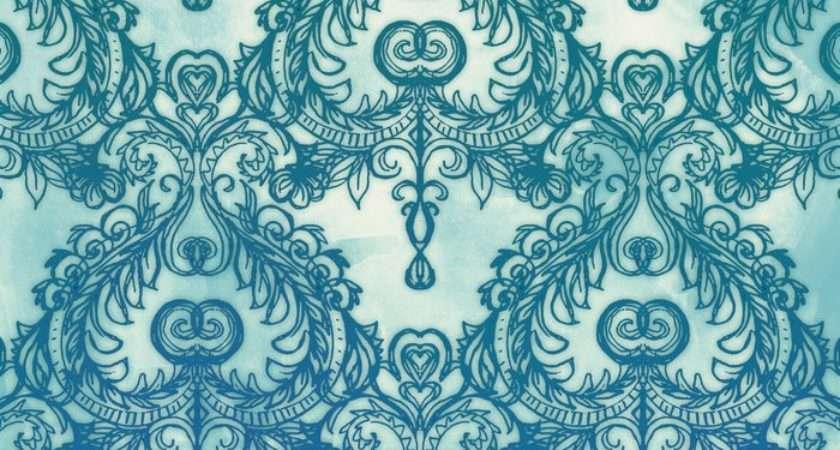 Vintage Pattern Cobalt Blue Emerald Green