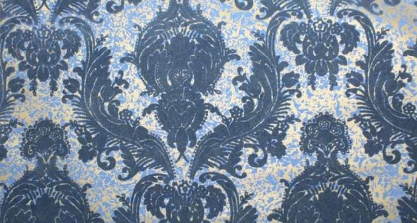 Vintage Retro Flocked Blue