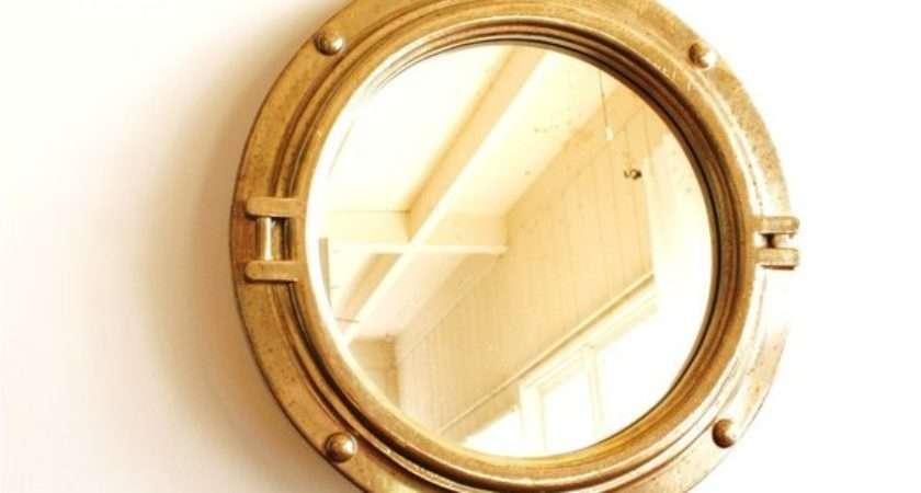 Vintage Round Porthole Style Gold Mirror