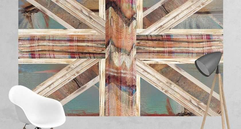 Vintage Shabby Chic Union Jack Flag Feature Wall