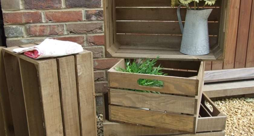 Vintage Style Wooden Apple Crate Shabby Chic Fruit