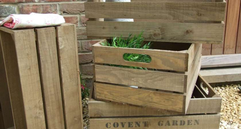 Vintage Style Wooden Apple Crate Storage Box Fruit Crates