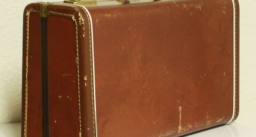 Vintage Suitcase Brown Luggage Faux Leather
