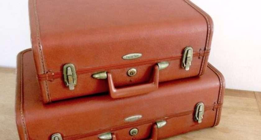 Vintage Suitcase Set Faux Leather Mid Century Luggage