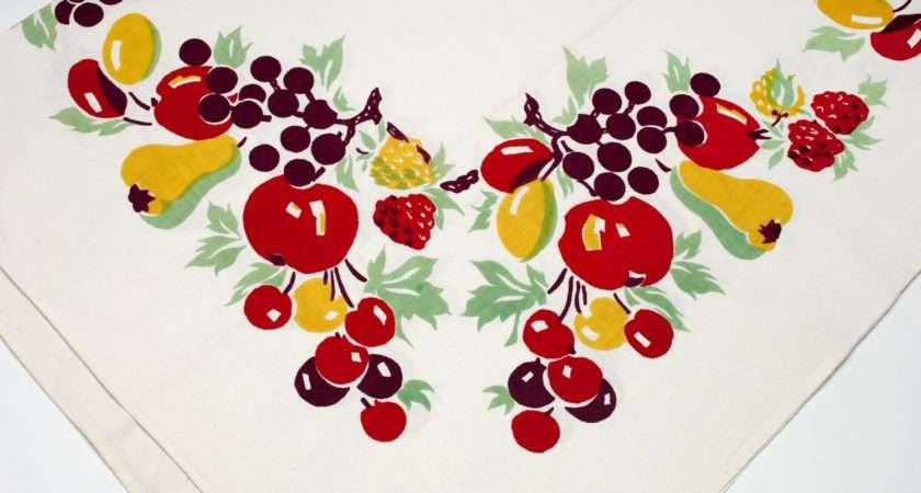 Vintage Tablecloth Colorful Fruit Kitchenstuffandsuch