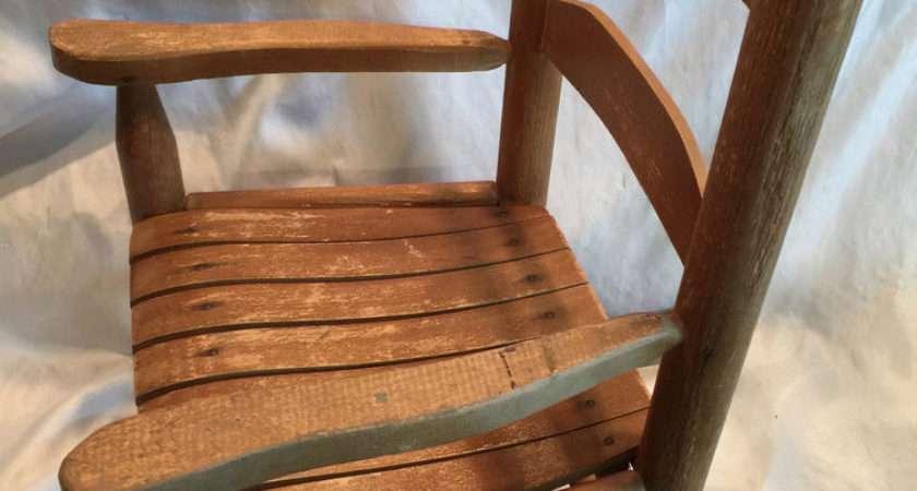 Vintage Toddler Wooden Rocking Chair Natural Wood