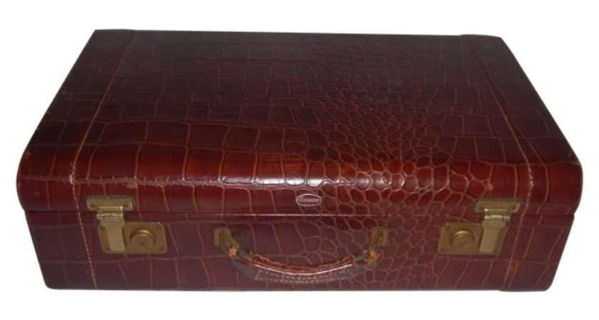 Vintage Towne Faux Alligator Leather Suitcase Chairish