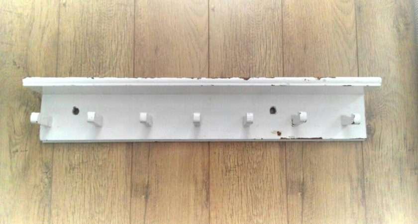 Vintage White Painted Peg Rail Shelf