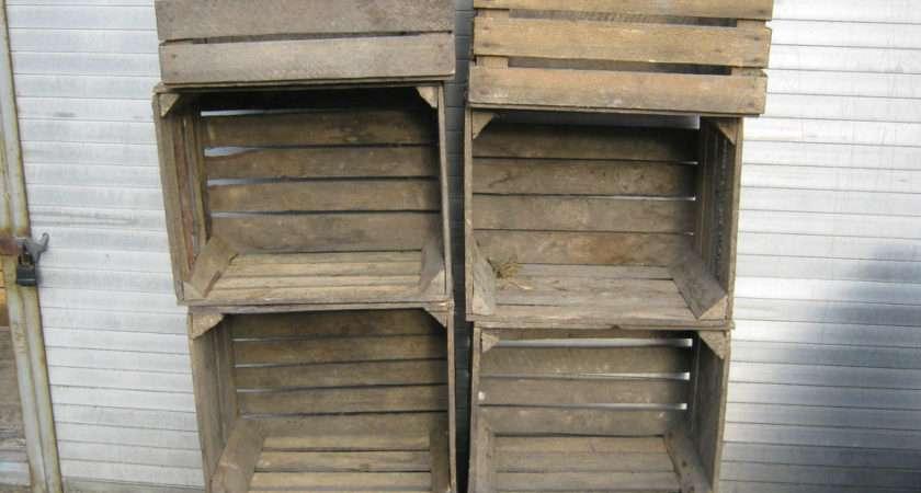 Vintage Wooden Apple Crates Storage Box Fruit