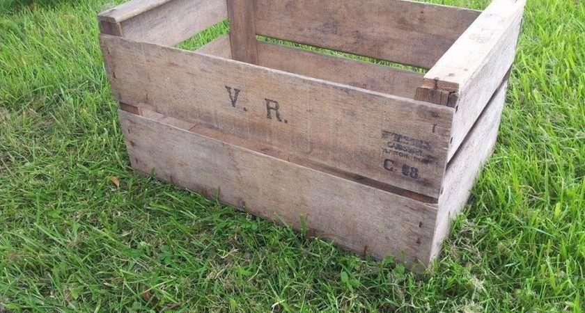 Vintage Wooden Pre War Apple Fruit Crates Rustic Old
