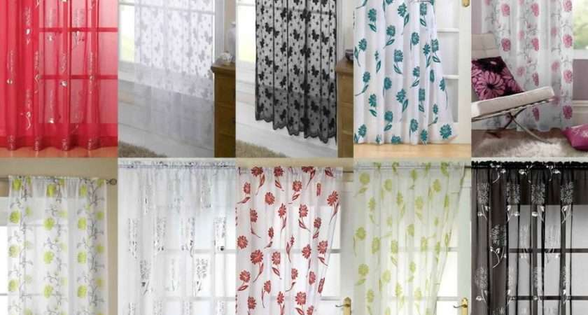Voile Curtain Panels Slot Top Patterned Voiles