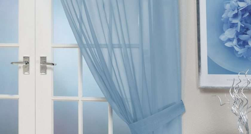 Voile Panels Opaque Blue Tab Top Curtain Panel