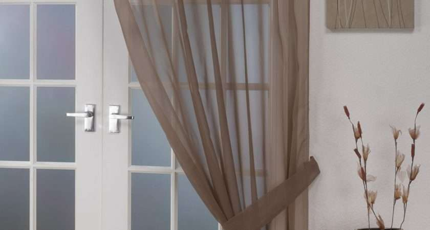 Voile Panels Opaque Mocha Tab Top Curtain Panel