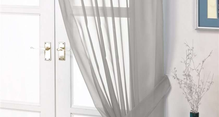 Voile Panels Opaque Silver Grey Tab Top Curtain Panel