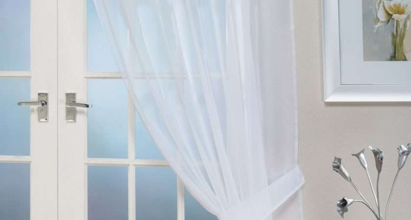 Voile Panels Opaque White Tab Top Curtain Panel