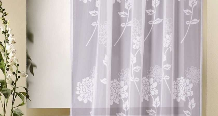Voile Panels Ophelia White Patterned Curtain Panel