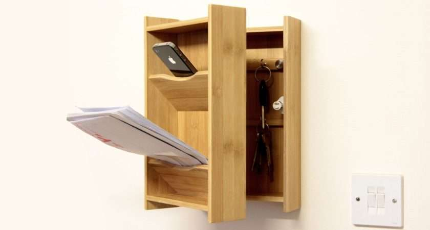 Wall Mounted Keys Letter Holder Bamboo