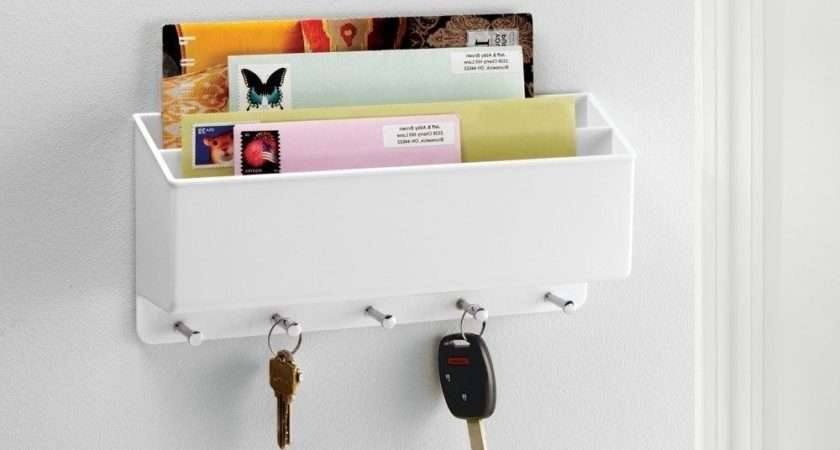 Wall Mounted Letter Rack Key Holder Hooks Mail Storage