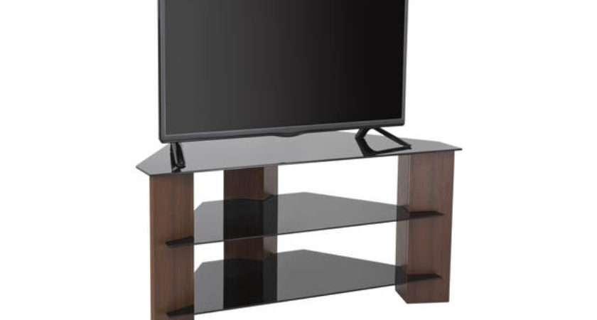 Walnut Black Glass Inch Stand Argos