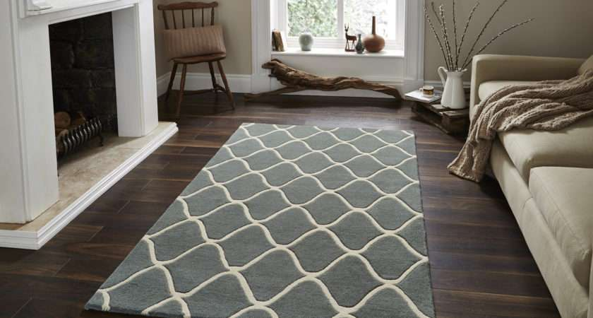 Wave Design Hand Tufted Wool Rug Contemporary Home