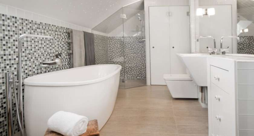 White Bathroom Gorgeous Natural Wood Ceilings Glossy