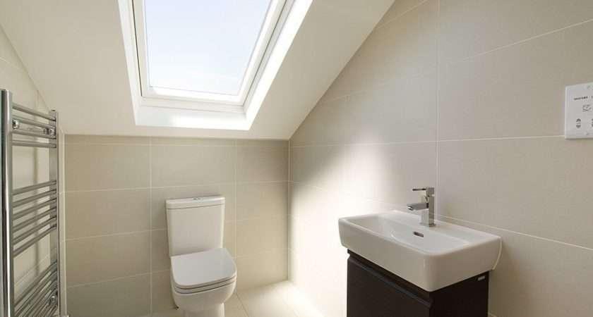 White Bathroom Loft Interior Glass Ceiling