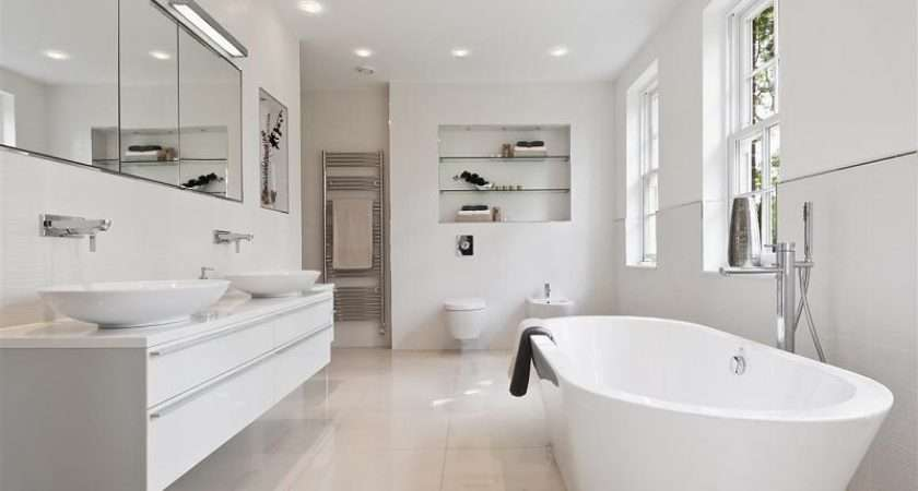 White Bathroom Modern Contemporary Minimalist Freestanding Bath Side